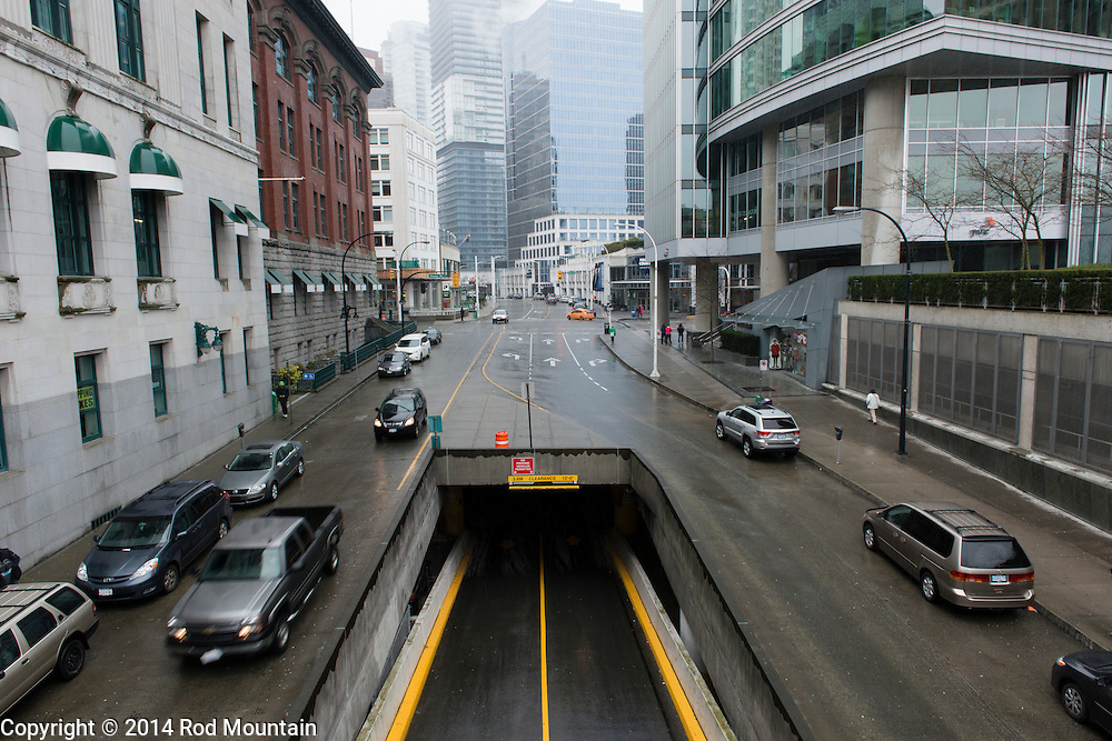 The street scene on a typical rainy day in Vancouver, British Columbia. © Rod Mountain