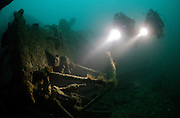 Technical divers explore wreckage on the Liberty Ship Fort Yale, sunk by torpedo in 1944, English Channel, United Kingdom