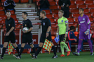 The teams are led out during the FA Youth Cup match between U18 Nottingham Forest and U18 Brighton at the City Ground, Nottingham, England on 10 December 2015. Photo by Simon Davies.