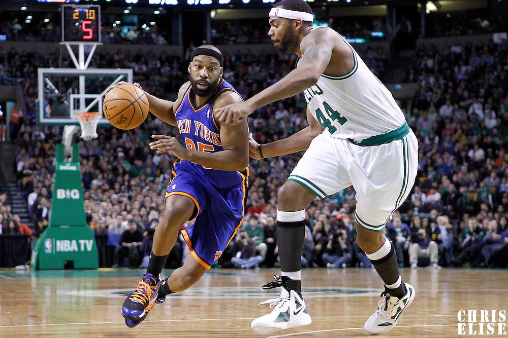 04 March 2012: New York Knicks point guard Baron Davis (85) drives past Boston Celtics power forward Chris Wilcox (44) during the Boston Celtics 115-111 (OT) victory over the New York Knicks at the TD Garden, Boston, Massachusetts, USA.