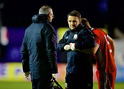 RHYL, WALES - Wednesday, November 14, 2018: Wales' Daniel Griffiths has treatment for a dislocated finger during the UEFA Under-19 Championship 2019 Qualifying Group 4 match between Wales and Scotland at Belle Vue. (Pic by Paul Greenwood/Propaganda)