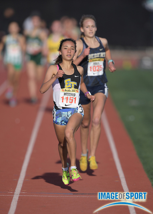 Apr 8, 2017; Arcadia, CA, USA; Ashley Messineo (1151) of El Toro wins the seeded girls mile in 4:59.14 during the 50th Arcadia Invitational at Arcadia High. Mandatory Credit: Kirby Lee-USA TODAY Sports