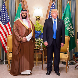 Saudi Prince Mohammed (or Mohammad) Bin Salman Bin Abdelaziz (or Abdul Aziz) Al Saud (left) meets with US President Donald Trump and First Lady Melania in Riyadh, Saudi Arabia on May 20, 2017. This is the first US president's visit abroad. Photo by Balkis Press/ABACAPRESS.COM
