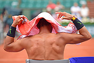 Rafael Nadal (ESP) changes his shirt during the preliminary rounds of the Roland Garros Tennis Open 2017 at Roland Garros Stadium, Paris, France on 2 June 2017. Photo by Jon Bromley.