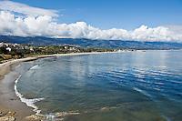 View from Ledbetter point across Ledbetter beach towards harbor, Santa Barbara, California