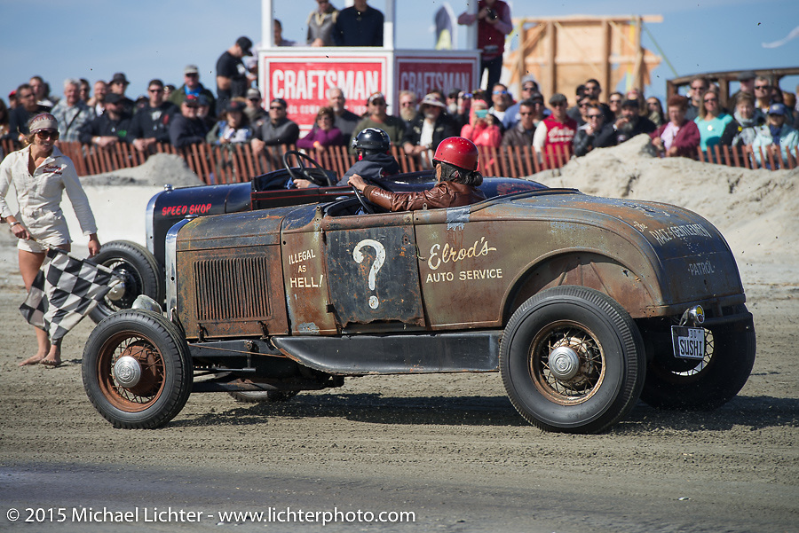 Atsushi (Sushi) Yasui of Freewheelers and Company from Japan in his Hot Rod racer at the Race of Gentlemen. Wildwood, NJ, USA. October 10, 2015.  Photography ©2015 Michael Lichter.
