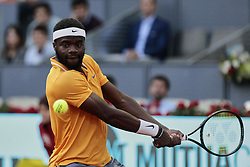 May 9, 2019 - Madrid, Spain - Frances Tiafoe in action during the Day 6 of the Mutua Madrid Open Masters match against Rafael Nadal at Caja Magica in Madrid. (Credit Image: © Legan P. Mace/SOPA Images via ZUMA Wire)