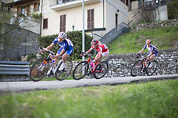 Jolanda Neff (Servetto-Footon) stays in the front of the race during the technical descent in the third, short lap of the Trofeo Alfredo Binda - a 123.3km road race from Gavirate to Cittiglio on March 20, 2016 in Varese, Italy.