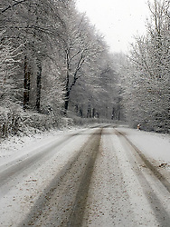 09 February 2018. Aix en Issart, Pas de Calais, Hauts de France.<br /> The snow arrived early in the morning making for some wintry scenes and treacherous driving in Hauts de France.<br /> Photo©; Charlie Varley/varleypix.com