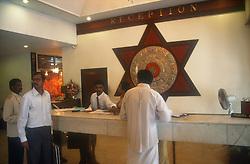 Hotel reception in Tiruchirapalli; Tamil Nadu; India,
