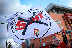 13th September 2017 - UEFA Champions League - Group E - Liverpool v Sevilla - Liverpool fans display flags calling for a 'Total Eclipse Of The Sun' newspaper - Photo: Simon Stacpoole / Offside.