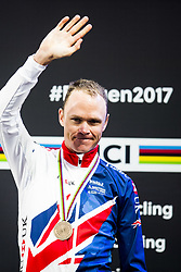 September 20, 2017 - Bergen, NORWAY - 170920 Christopher Froome of Great Britain during the award ceremony after the Men Elite Individual Time Trial on September 20, 2017 in Bergen..Photo: Jon Olav Nesvold / BILDBYRN / kod JE / 160023 (Credit Image: © Jon Olav Nesvold/Bildbyran via ZUMA Wire)