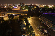 An urban cityscape an night, near the French capital's Orly airport, the N186 motorway in southern Paris.