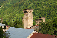 Stone medieval Svaneti tower houses of soli village, Upper Svaneti, Samegrelo-Zemo Svaneti, Mestia, Georgia.  A UNESCO World Heritage Site. .<br /> <br /> Visit our REPUBLIC of GEORGIA HISTORIC PLACES PHOTO COLLECTIONS for more photos to browse, download or buy as wall art prints https://funkystock.photoshelter.com/gallery-collection/Pictures-Images-of-Georgia-Country-Historic-Landmark-Places-Museum-Antiquities/C0000c1oD9eVkh9c