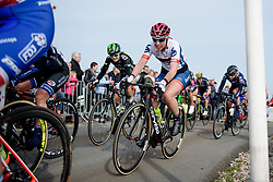 Lisa Klein reaches the top of VAMberg at Ronde van Drenthe 2017. A 152 km road race on March 11th 2017, starting and finishing in Hoogeveen, Netherlands. (Photo by Sean Robinson/Velofocus)