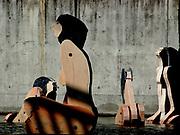 Fountain with installation of women's bodies.<br /> <br /> Lisbon,  August 2005<br /> <br /> Photo Antonietta Baldassarre