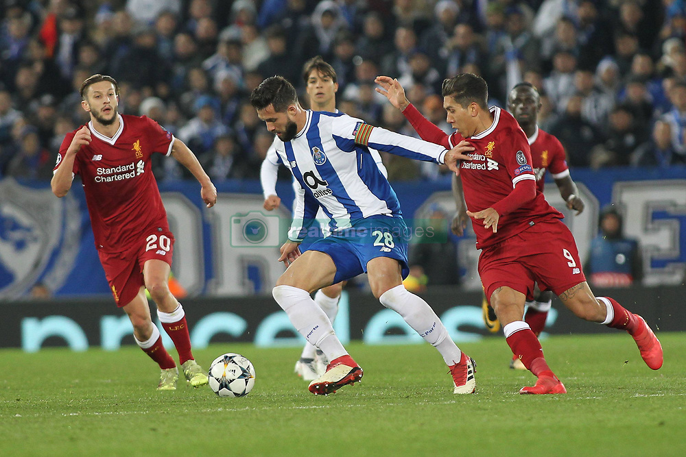 March 6, 2018 - Liverpool, U.S. - Liverpool v FC Porto UEFA Champions League Felipe of FC Porto and Roberto Firmino of Liverpool in action during the UEFA Champions League match at Anfield, Liverpool.  (Photo by Focus Images/Imago/Icon Sportswire) ****NO AGENTS---NORTH AND SOUTH AMERICA SALES ONLY****NO AGENTS---NORTH AND SOUTH AMERICA SALES ONLY* (Credit Image: © Focus Images/Icon SMI via ZUMA Press)