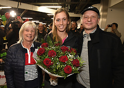January 27, 2018 - Bruxelles, BELGIQUE - BRUSSELS, BELGIUM - JANUARY 27:  Belgian tennis player Elise Mertens and her father Guido and mother Eliane (semi finalist at the Australia Open) pictured during her come back in Brussels Airport Belgium on january 27, 2018 in Brussels, Belgium, 27/01/2018 (Credit Image: © Panoramic via ZUMA Press)