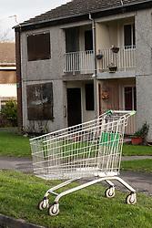 Supermarket trolly dumped on Wyborne housing estate, Sheffield