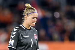 goalkeeper Line Johansen of Denmark during the FIFA Women's World Cup 2019 play off first leg qualifying match between The Netherlands and Denmark at the Rat Verlegh stadium on October 05, 2018 in Breda, The Netherlands