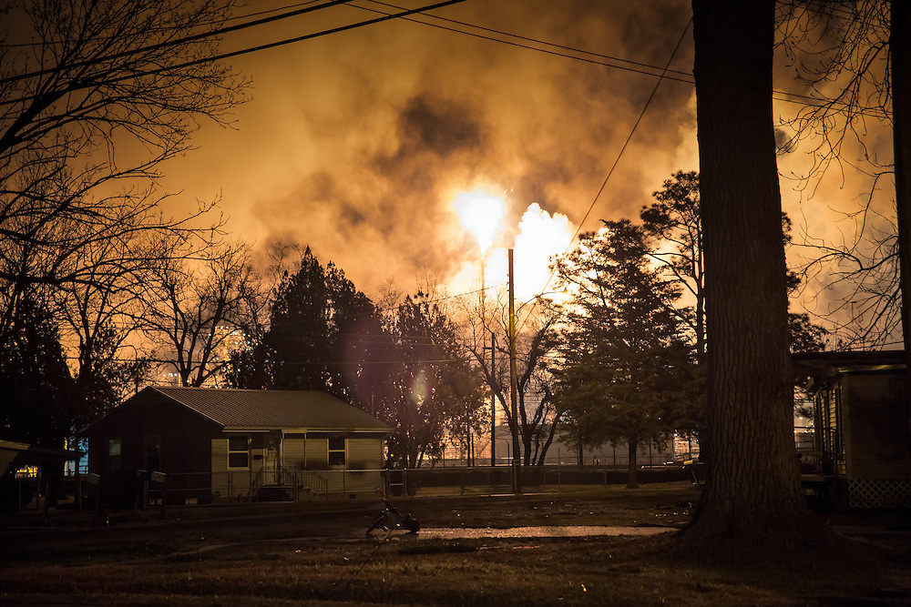 Feb. 22. 2014,  The sky  illuminated by a flare at the Shell Refinery while The United Steelworkers ( SW) strike for the second night in Norco Louisiana at refineries run by Motiva and Shell.The strike is part of a nationwide strike that is in its fourth week.