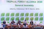 Panelists speak during a knowledge exchange session on the landscape approach at the General Assembly of the Tropical Forest Alliance 2020 in Jakarta, Indonesia, on March 11, 2016. From left to right are Frances Seymour, Senior Fellow at the Center for Global Development; Dharsono Hartono, ‎CEO of PT Rimba Makmur Utama; Emily Roynestad, Director of Business Development at Anthrotect; Sarah Price, Head of Projects and Development at the Programme for the Endorsement of Forest Certification (PEFC); and Kate Bottriell, Senior Programme Advisor at the United Nations Development Programme (UNDP). <br /> (Photo: Rodrigo Ordonez)