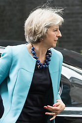 Downing Street,  London, June 27th 2015. Home Secretary Theresa May arrives for the first post-Brexit cabinet meeting at 10 Downing Street