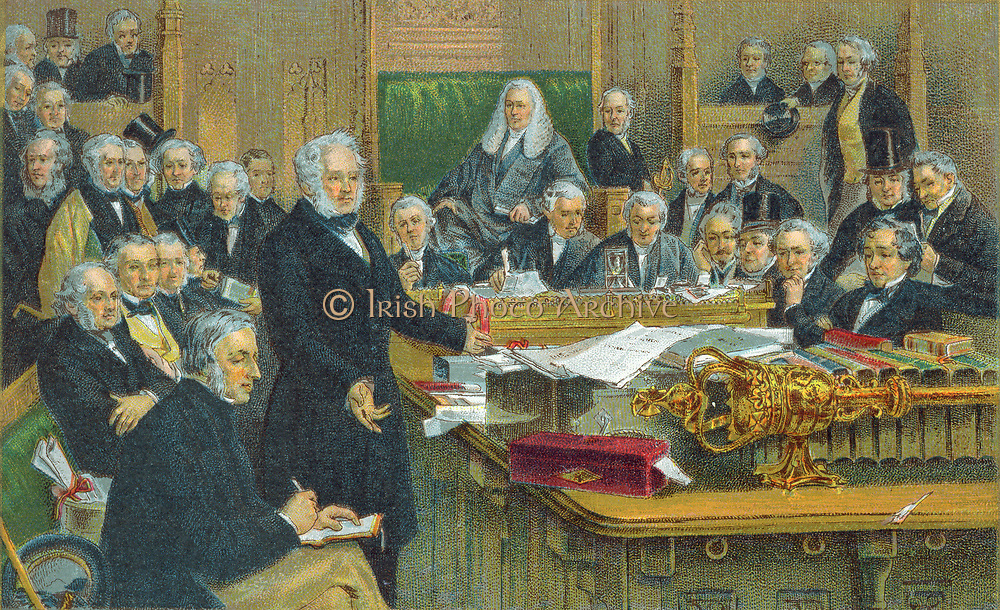 Henry John Temple, 3rd Viscount Palmerston (1784-1865) addressing Parliament.  Foreign Secretary 1830-1841; Prime Minister 1855-1857, 1858, 1858-1865.  Chromolithograph c1897.