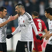 Besiktas's Hugo Almedia (C) celebrate his goal with team mate during their Turkish superleague soccer match Besiktas between Gaziantepspor at BJK Inonu Stadium in Istanbul Turkey on Tuesday, 05 January 2012. Photo by TURKPIX