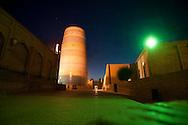 KALTA minaret and PALVAN QARI main street at night  KHIVA  Ouzbekistan  .///.KALTA minaret et la rue  PALVAN QARI rue principale de la vielle ville la nuit .  KHIVA  Ouzbekistan .///.OUZB56307