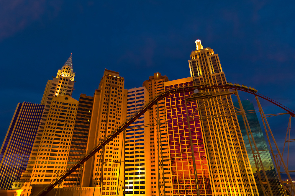 Exterior view of the New York New York Hotel and Casino at twilight, Las Vegas, Nevada