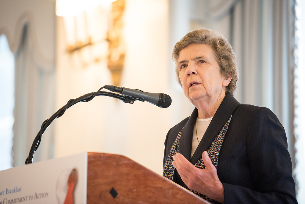 13 September 2017, New York, USA: On Gathering at the Yale Club in New York on 13 September for an interfaith prayer breakfast, faith leaders from a multitude of religions came together to support a coordinated faith-based effort in responding to HIV. The event was hosted by the World Council of Churches–Ecumenical Advocacy Alliance (WCC-EAA) in collaboration with UNAIDS, the United States President's Emergency Plan for AIDS Relief and the United Nations Interagency Task Force on Religion and Development on the side-lines of the 72nd session of the United Nations General Assembly. Here, Sister Carol Keehan, President & CEO, Catholic Health Association.