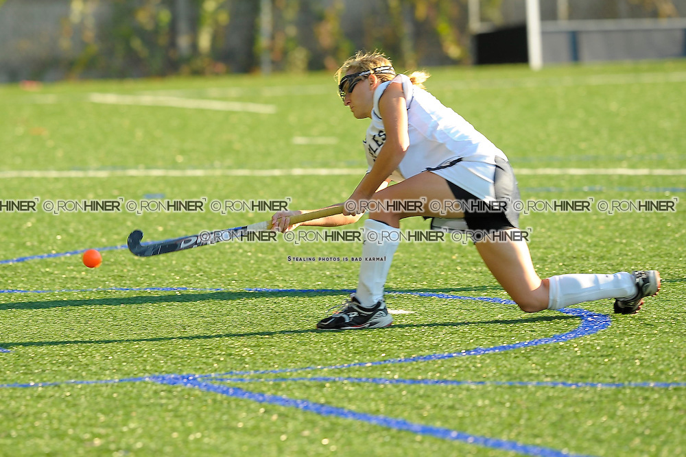 Emily Ashken scoring the second goal of the game in a penalty shot.  .Staples beats Norwalk McMahon 2-0.