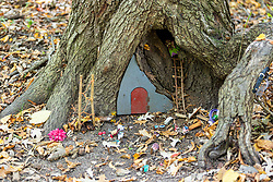 A small gnome-like village is created in the base of a large tree