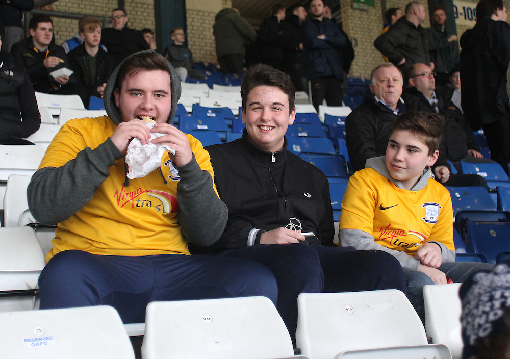 Preston North End's Fans<br /> <br /> Photographer Mick Walker/CameraSport<br /> <br /> Football - The Football League Sky Bet League One - Oldham Athletic v Preston North End - Saturday 28th February 2015 - SportsDirect.com Park - Oldham<br /> <br /> © CameraSport - 43 Linden Ave. Countesthorpe. Leicester. England. LE8 5PG - Tel: +44 (0) 116 277 4147 - admin@camerasport.com - www.camerasport.com