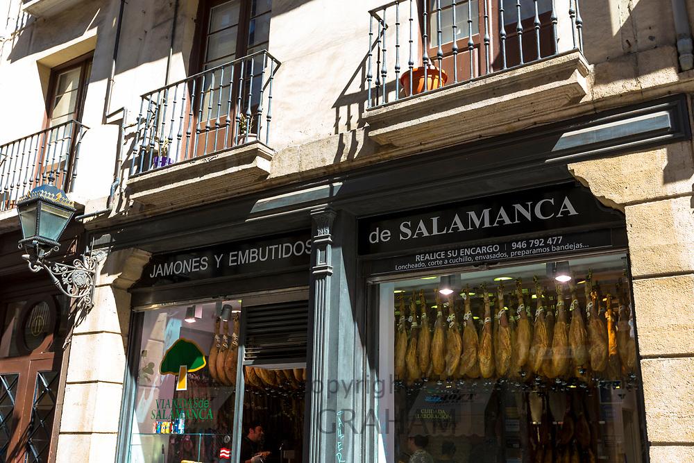 Jamones Y Embutidos de Salamanca shop selling Iberico Jamon ham and other meats in Calle de Bidebarrieta in Bilbao, Spain