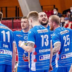Freude beim TVB nach Sieg gegen Goeppingen / LIQUI MOLY HBL 20/21  1. Handball-Bundesliga: TVB Stuttgart - FRISCH AUF! Goeppingen am 24.04.2021 in Stuttgart (SCHARRena), Baden-Wuerttemberg, Deutschland<br /> <br /> Foto © PIX-Sportfotos *** Foto ist honorarpflichtig! *** Auf Anfrage in hoeherer Qualitaet/Aufloesung. Belegexemplar erbeten. Veroeffentlichung ausschliesslich fuer journalistisch-publizistische Zwecke. For editorial use only.