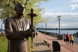 Cardiff, UK. 1st May, 2017. The Sri Chinmoy World Harmony Peace Statue is pictured alongside Cardiff Bay. The statue was donated to the city of Cardiff by the annual World Harmony Run to mark its 25th anniversary.