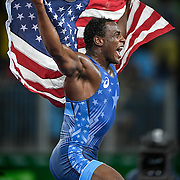 United States wrestler J'den Cox celebrated his bronze medal victory in men's freestyle 86kg on Saturday at Carioca Arena 2 during the 2016 Summer Olympics Games in Rio de Janeiro, Brazil.