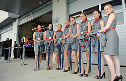 14.05.2011, Red Bull Ring, Spielberg, AUT, RED BULL RING, SPIELBERG, EROEFFNUNG, im Bild Hostessen vor der Red Bull Box // Grid girl infront of the Red Bull pit during the official Opening for the Red Bull Circuit in Spielberg, Austria, 2011/05/14, EXPA Pictures © 2011, PhotoCredit: EXPA/ S. Zangrando