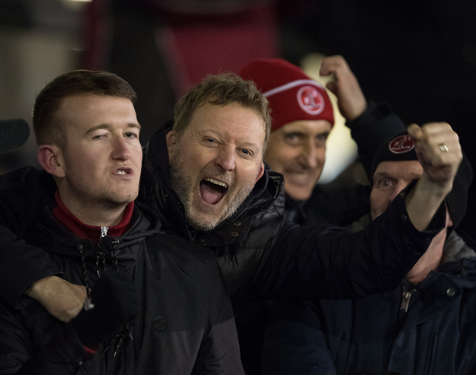 Celebrations from Fleetwood supporters  after winning the match 1-2<br /> <br /> Photographer Jon Hobley/CameraSport<br /> <br /> The EFL Sky Bet League One - Oldham Athletic v Fleetwood Town - Tuesday 26th December 2017 - Boundary Park - Oldham<br /> <br /> World Copyright © 2017 CameraSport. All rights reserved. 43 Linden Ave. Countesthorpe. Leicester. England. LE8 5PG - Tel: +44 (0) 116 277 4147 - admin@camerasport.com - www.camerasport.com