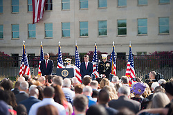 September 11, 2016 - Arlington, VA, United States of America - U.S President Barack Obama, Defense Secretary Ash Carter, and Joint Chiefs Chairman Gen. Joseph F. Dunford Jr., bow their heads during a moment of silence at a remembrance ceremony commemorating the 15th anniversary of the 9/11 terrorist attacks at the Pentagon September 11, 2016 in Arlington, Virginia. (Credit Image: © Po2 Dominique A. Pineiro/Planet Pix via ZUMA Wire)