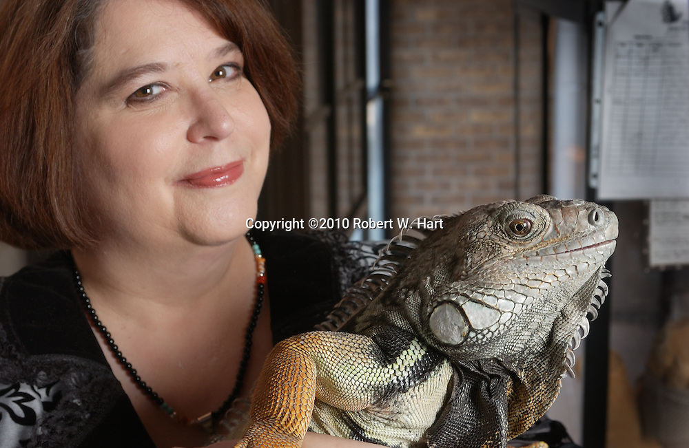 Author Roxanne Conrad and her male iguana in her Fort Worth home on Jan. 02, 2011.