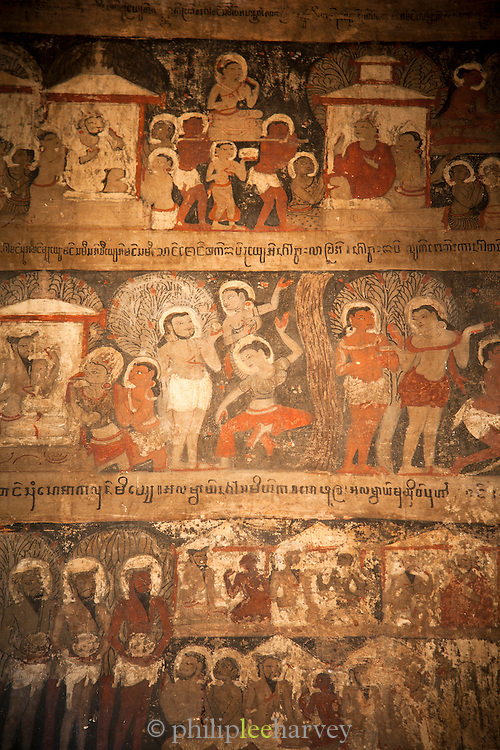 Ancient wall paintings inside the Loka Hteik Pann temple in the old city of Bagan, Myanmar