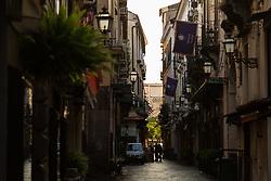 Sorrento, Italy, September 20 2017. Via Caesario awaits the day's throngs of tourists in Sorrento, Italy. © Paul Davey