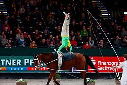 MÜLLER Andrin (SUI), Consilio v Schl'Hof CH<br /> Leipzig - Partner Pferd 2018   <br /> FEI World Cup Vaulting Herren 1. Umlauf <br /> © www.sportfotos-lafrentz.de/Stefan Lafrentz