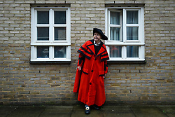© Licensed to London News Pictures. 23/02/2020. LONDON, UK.  A man dressed as a town crier in period costume attends an event marking the 200th anniversary of the Cato Street Conspiracy in Marylebone.  On 23 February 1820, 13 plotters were foiled by Bow Street Runners (police of the day) in their attempt to overthrow the government by assassinating Prime Minister Lord Liverpool and his Cabinet ministers.  Photo credit: Stephen Chung/LNP