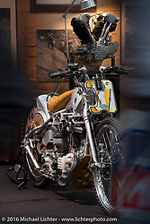 Uwe Ehinger of Ehinger Kraftrad had a very warm looking booth in Hall 10 with its all custom focus at the Intermot Motorcycle Trade Fair. Cologne, Germany. Thursday October 6, 2016. Photography ©2016 Michael Lichter.