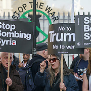 Stop the War Coalition protests No to Trump's attack on Syria,London,UK