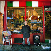 Portrait of Emilio Mignucci, co-owner of Dibruno Bros. store in Philadelphia. He was pictured in front of the company's store in the historic Italian Market section of Philadelphia on February, 23, 2011.